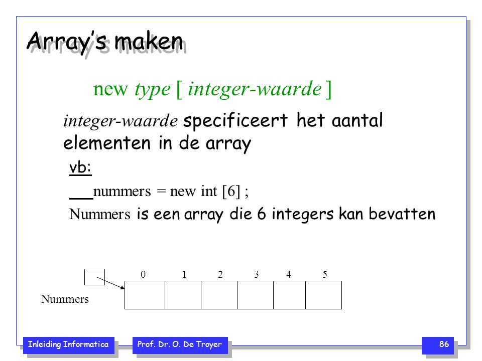 Array's maken new type [ integer-waarde ]